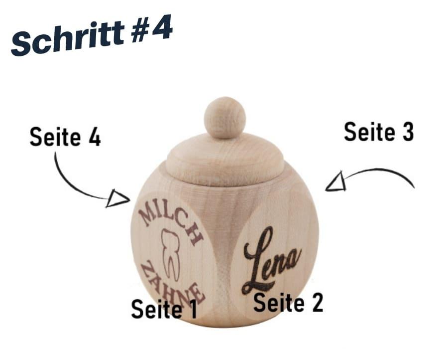 Milchzahndose aus Holz individuell gestaltet. Zahnfee
